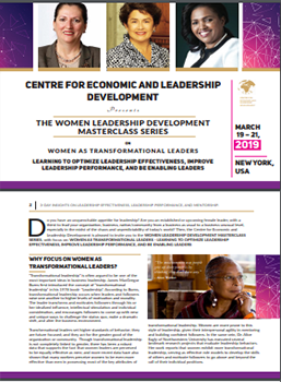 THE WOMEN LEADERSHIP DEVELOPMENT MASTERCLASS SERIES